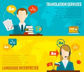 stock photo of interpreter  - Face to face synchronic translation services and international court legal interpreting flat banners set abstract vector illustration - JPG