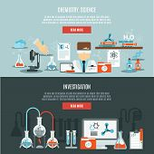 foto of bio-hazard  - Chemistry horizontal banner set with science and investigation flat elements isolated vector illustration - JPG