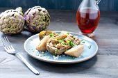 stock photo of vinegar  - Artichoke salad with balsamic vinegar and salt potatoes pink - JPG