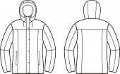 stock photo of down jacket  - Vector illustration of winter down jacket - JPG