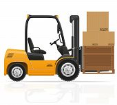 picture of heavy equipment operator  - forklift truck vector illustration isolated on white background - JPG