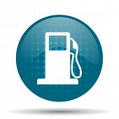 stock photo of petrol  - petrol blue glossy web icon  - JPG
