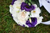 foto of bridal veil  - bridal bouquet lying on the green grass - JPG