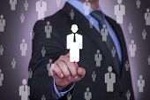 picture of touching  - Businessman Choosing Touching Human recruitment technology connection business - JPG