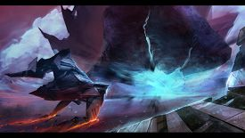 image of spaceships  - Fantasy futuristic spaceship flying with neon space planet hill explosion - JPG