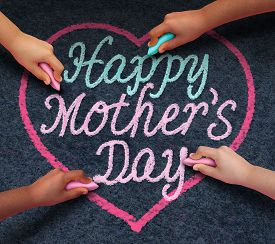 image of celebrate  - Happy mothers day children drawing with chalk on asphalt a message of love for their loving parent and parenting appreciation for mom from a diverse community of kids celebrating family - JPG