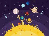 ������, ������: Solar system flat style