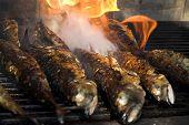 Постер, плакат: Рыба барбекю рыбы на огонь