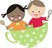 Diversity boy girl cooking flying teacup