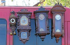 pic of pendulum  - Four Used Pendulum Clocks at Flea Market - JPG