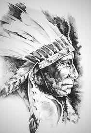 foto of indian chief  - Sketch of tattoo art - JPG