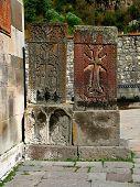 cross stones,geghard monastery,armenia