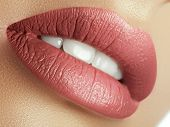 Perfect Natural Lip Makeup. Close Up Macro Photo With Beautiful Female Mouth. Plump Full Lips. Close poster