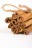 Cinnamon Spicy Sticks Close-Up Isolated Over A White Background poster