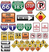stock photo of road construction  - vector collection of road signs volume one - JPG