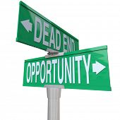 A green two-way street sign pointing to Dead End and Opportunity, symbolizing the choice between a p
