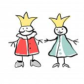 King and queen doodles drawing.