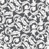 Floral ornament background, simulates engraving. Vector.