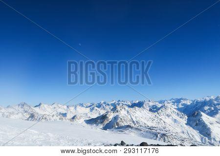 Moon Above The Snowy Glacier