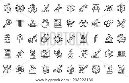 Genetic Engineering Icons Set Outline