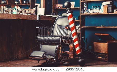 poster of Barber Shop Pole. Logo Of The Barbershop, Symbol. Stylish Vintage Barber Chair. Hairstylist In Barbe