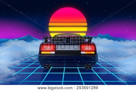 Poster: Cyberpunk Car In 80s Style
