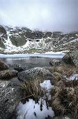 Winter Landscape Ice Lake Snow Rock Storm Sky
