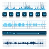 Music background. Buttons and sound waves.