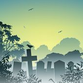 A Misty Graveyard, Cemetery with Tombstones and Crow