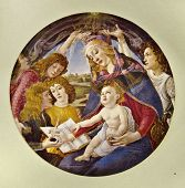 Постер, плакат: Sandro Botticelli Magnificat Madonna Reproduction from illustrated Encyclopedia