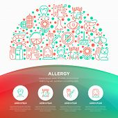 Allergy Concept In Half Circle With Thin Line Icons: Runny Nose, Dust, Streaming Eyes, Lactose Intol poster