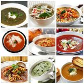 Collage of different soups.  Includes lentil, Asian noodle, vegetable, tomato, minestrone, broccoli,