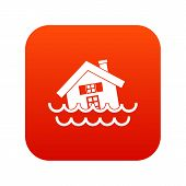 House Sinking In A Water Icon Digital Red For Any Design Isolated On White Illustration poster