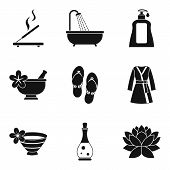 Aroma Oil Icons Set. Simple Set Of 9 Aroma Oil Icons For Web Isolated On White Background poster