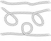 Ropes Pattern Brushes. Seamless Nautical Rope And Chain Stripes Isolated On Background. Braids And P poster
