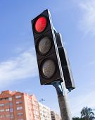 Traffic light signal for vehicles, red warning lamp sign to stop the car on the road poster