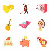 Passion Icons Set. Cartoon Set Of 9 Passion Icons For Web Isolated On White Background poster