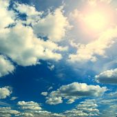 Sky With Clouds And Sun In Summer Time