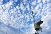 Meteorology Tools Under The Bright Blue Sky With Beautiful Altocumulus Clouds. There Are Mobile Auto poster