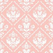 Classic Seamless Pattern. Damask Orient Pink And White Ornament. Classic Vintage Background poster