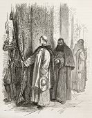 Dominican and Capuchin friars in Vatican city. Created by Neuville after Ulmann, published on Le Tou