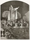 Pope's blessing old illustration (Pious IX). Created by Bayard, published on Le Tour du Monde, Paris, 1867