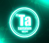 Tantalum Chemical Element. Sign With Atomic Number And Atomic Weight. Chemical Element Of Periodic T poster