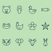 Zoology Icons Set With Chicken, Seafood, Rabbit And Other Claw Print Elements. Isolated Vector Illus poster