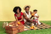 Wonderful Moments Together. Happy African American Family Having Picnic Against Yellow Studio Backgr poster