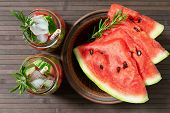 Refreshing Summer Watermelon Drink With Rosemary, Watermelon Slices  On A Plate. Watermelon And Rose poster