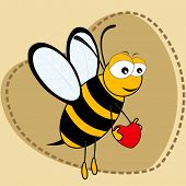 Cute bee holding a hear tin on brown color heart shape background with copy space for Valentines Day