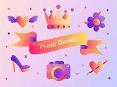 Gradient Prom Queen Ribbon Vector Illustration Web poster