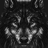 Muzzle Of A Beautiful Wolf With A Piercing Gaze, Creative Dark Patterned Background poster