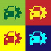 Color Car Service Icon Isolated On Color Backgrounds. Auto Mechanic Service. Mechanic Service. Repai poster